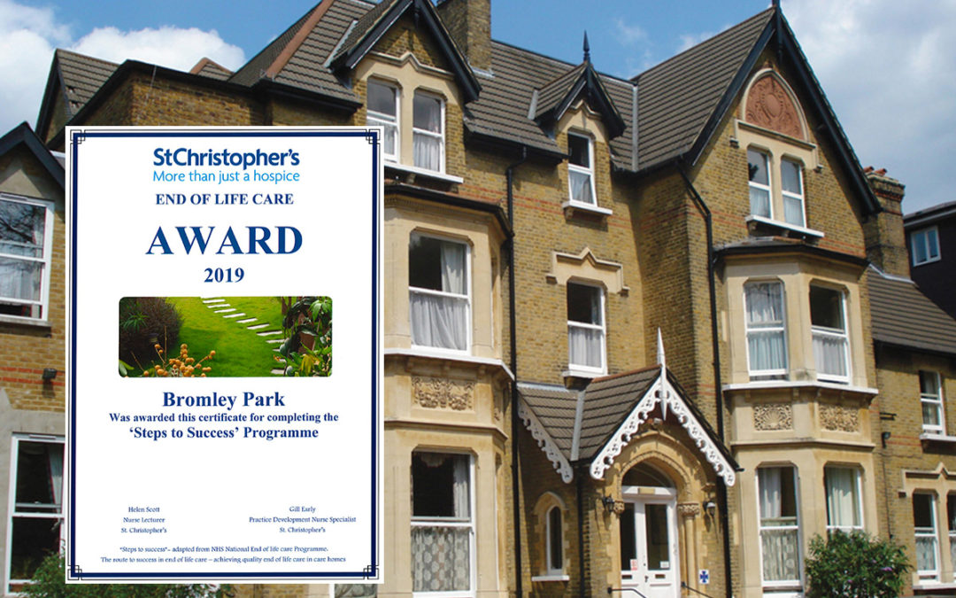Bromley Park Care Home receives End of Life Care Award