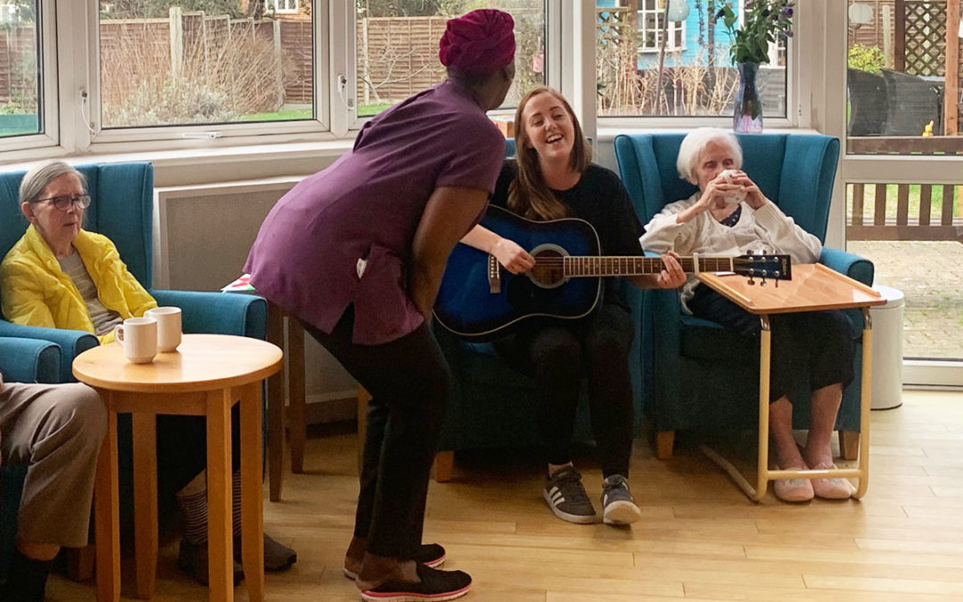 Enjoying music with Nicola at Bromley Park Care Home