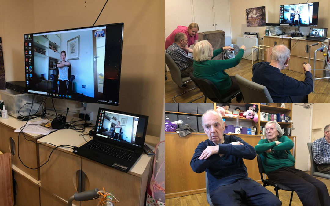 Exercising via Skype at Bromley Park Care Home