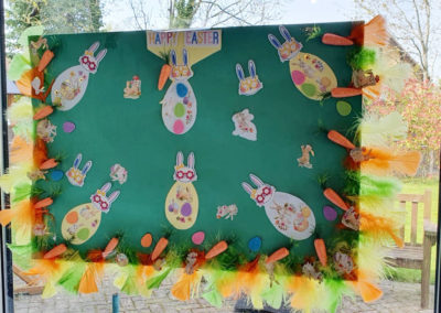 Easter bunny and carrot art display at Bromley Park Care Home