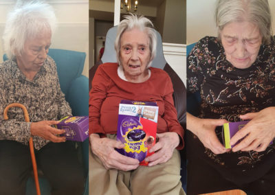 Residents at Bromley Park Care Home with their Easter eggs
