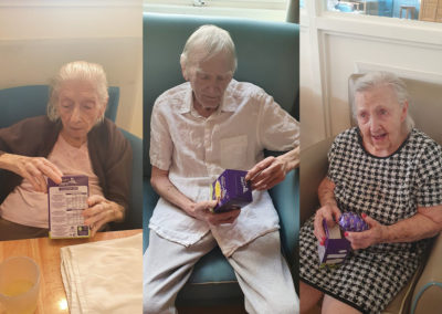 Bromley Park Care Home with their chocolate Easter eggs