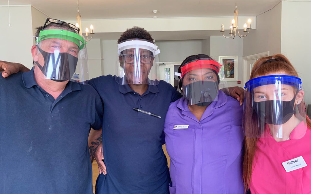 Volunteers deliver 3D printed face shields to Bromley Park Care Home