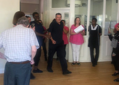 Staff member on his birthday at Bromley Park Care Home