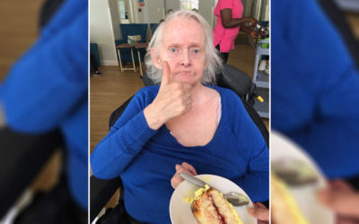 Birthday cake thumbs up at Bromley Park Care Home