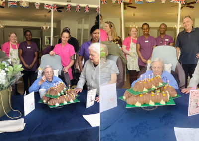 Resident with her chocolate caterpillar birthday cakes at Bromley Park