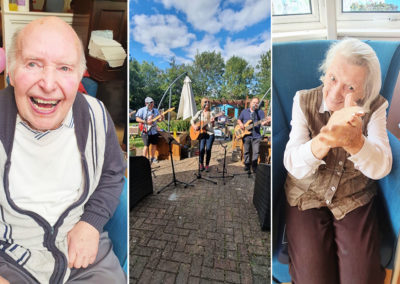 Residents enjoying live music at a summer party at Bromley Park Care Home