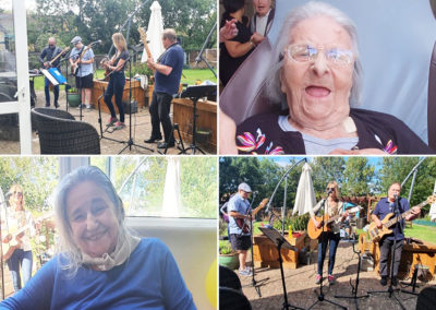 Bromley Park Care Home residents enjoying live music at a summer party