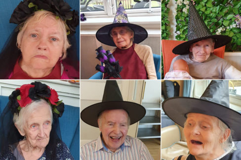 Bromley Park Care Home residents in Halloween head gear