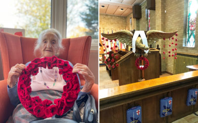 Bromley Park resident with a hand crafted poppy wreath, and it placed in a Chapel at Biggin Hill