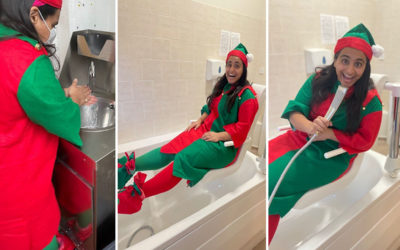 Staff member dressed up as a Christmas Elf at Bromley Park Care Home