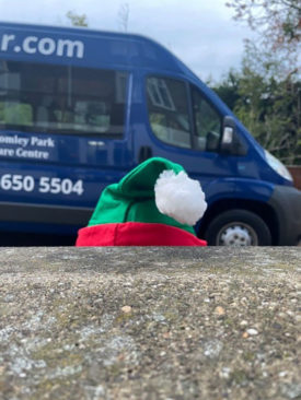 Elf hat outside Bromley Park Care Home