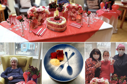 Valentine hearts and flowers at Bromley Park Care Home