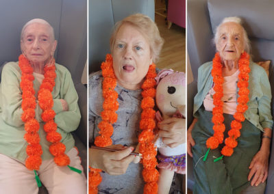 Bromley Park Care Home ladies in flower garlands