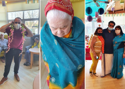 Bromley Park Care Home staff and residents enjoying Indian culture
