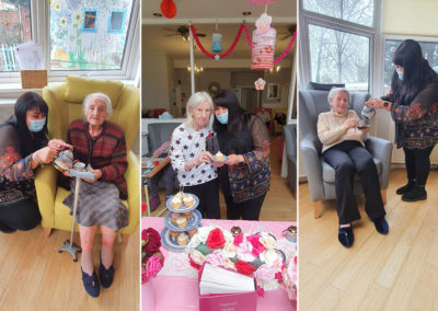 Residents enjoying a Mother's Day tea party at Bromley Park Care Home