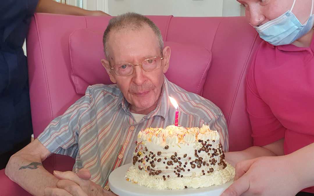 Donald at Bromley Park Care Home celebrates his 80th birthday
