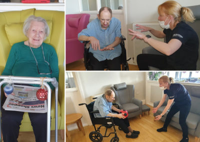 Bromley Park Care Home residents enjoying armchair exercises