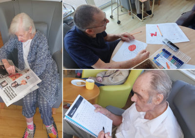 Bromley Park Care Home residents enjoying reading and wordsearches