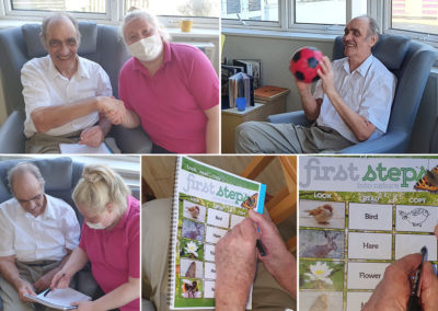 Bromley Park Care Home residents enjoying ball games and creative activities
