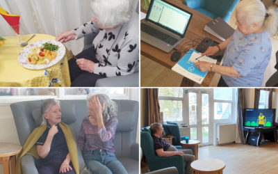Residents enjoying relaxing pastimes at Bromley Park Care Home