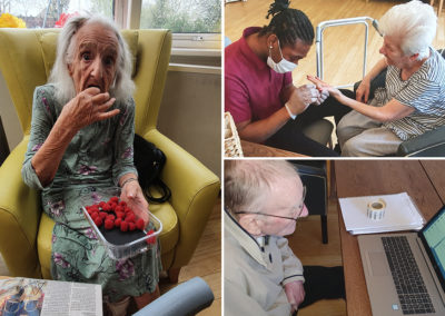 Our residents enjoying treats, pampering and contact with loved ones at Bromley Park Care Home