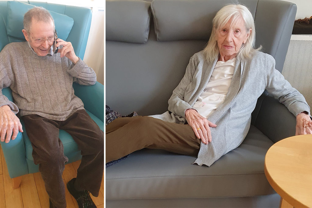 Bromley Park Care Home reindent talking to his wife on the phone and another resident relaxing on the sofa