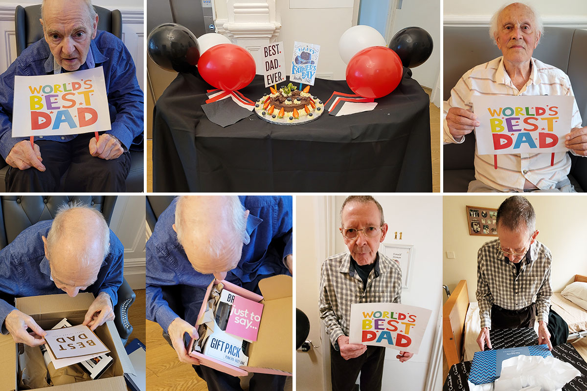 Bromley Park Care Home gents celebrate Fathers Day with cake