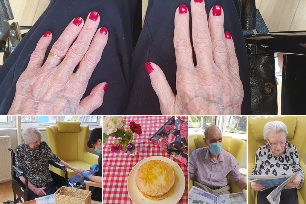 Bromley Park Care Home resident's nail painting and cake on her birthday