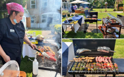 Bromley Park Care Home's Chef Ellen cooking a BBQ in the garden the Home