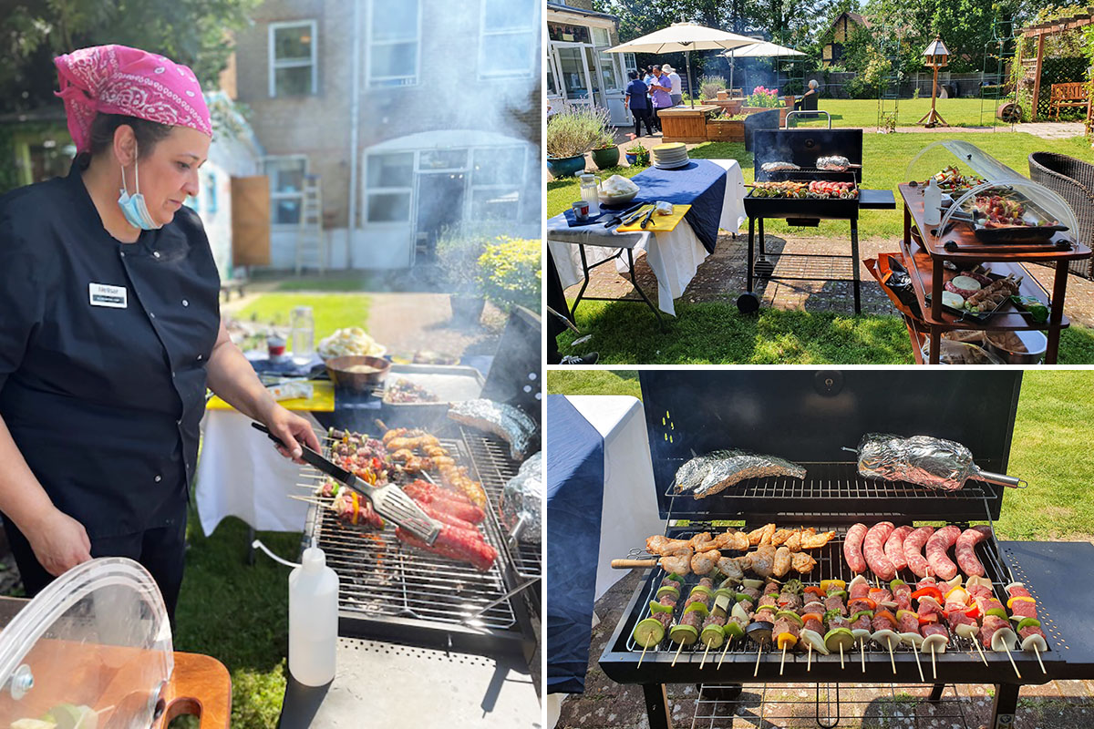 Delicious BBQ food in the garden at Bromley Park Care Home