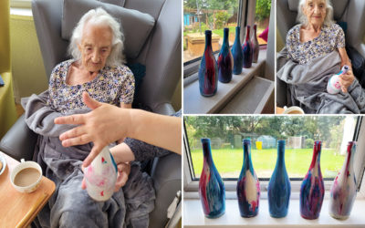 Bottle painting fun at Bromley Park Care Home